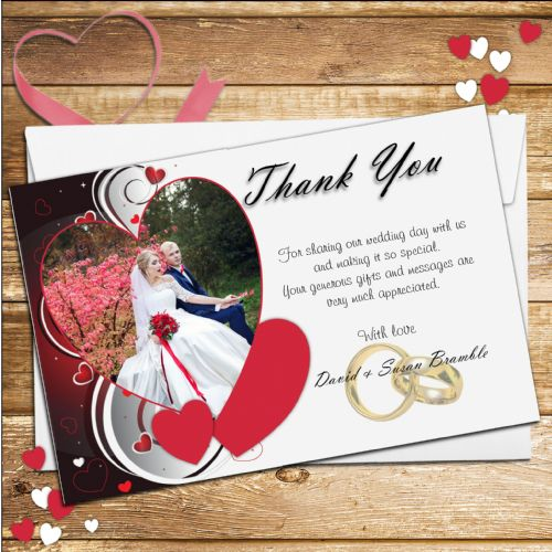 10 Personalised Hearts Wedding Day Thank you PHOTO cards N176.